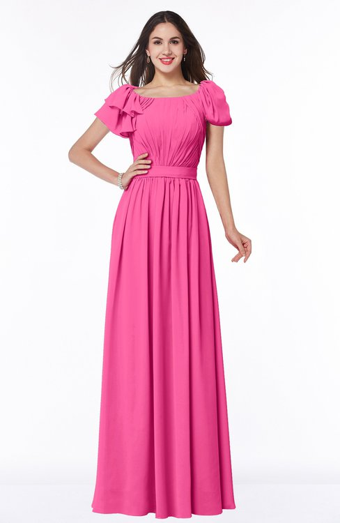 ColsBM Thalia Rose Pink Mature A-line Zipper Chiffon Floor Length Plus Size Bridesmaid Dresses