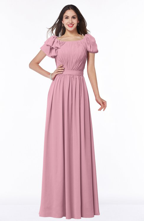 ColsBM Thalia Rosebloom Mature A-line Zipper Chiffon Floor Length Plus Size Bridesmaid Dresses