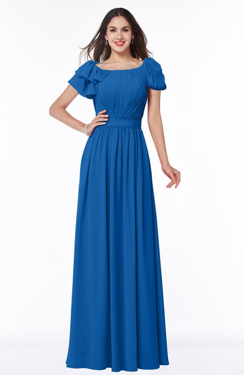 ColsBM Thalia Royal Blue Mature A-line Zipper Chiffon Floor Length Plus Size Bridesmaid Dresses