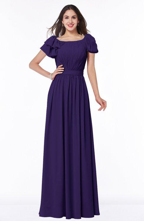 ColsBM Thalia Royal Purple Mature A-line Zipper Chiffon Floor Length Plus Size Bridesmaid Dresses