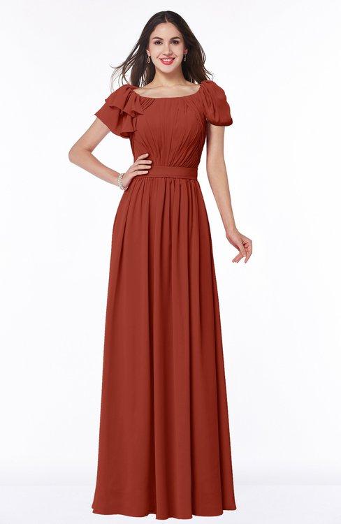 ColsBM Thalia Rust Mature A-line Zipper Chiffon Floor Length Plus Size Bridesmaid Dresses