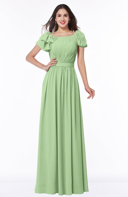 ColsBM Thalia Sage Green Mature A-line Zipper Chiffon Floor Length Plus Size Bridesmaid Dresses
