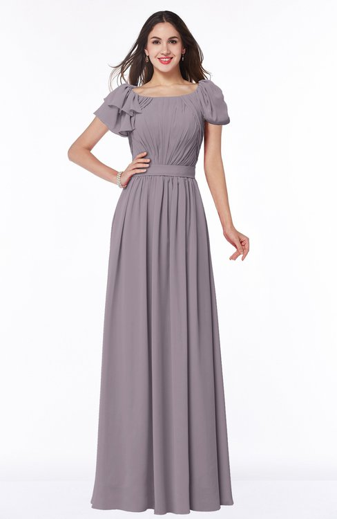 ColsBM Thalia Sea Fog Mature A-line Zipper Chiffon Floor Length Plus Size Bridesmaid Dresses