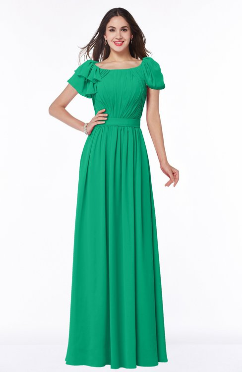 ColsBM Thalia Sea Green Mature A-line Zipper Chiffon Floor Length Plus Size Bridesmaid Dresses