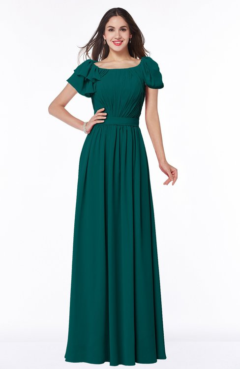 ColsBM Thalia Shaded Spruce Mature A-line Zipper Chiffon Floor Length Plus Size Bridesmaid Dresses