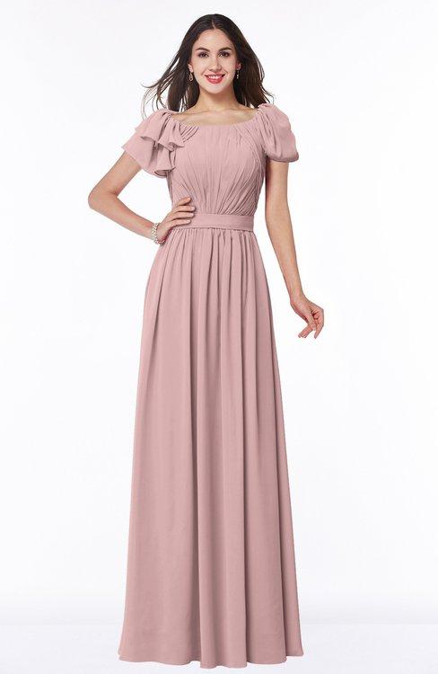 ColsBM Thalia Silver Pink Mature A-line Zipper Chiffon Floor Length Plus Size Bridesmaid Dresses