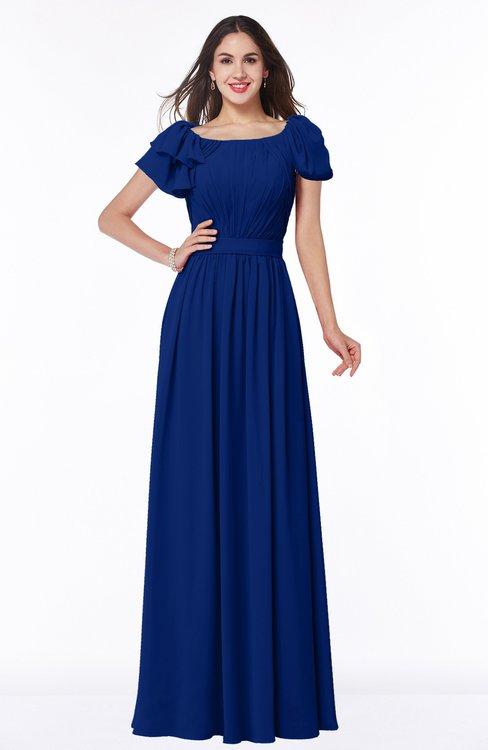 ColsBM Thalia Sodalite Blue Mature A-line Zipper Chiffon Floor Length Plus Size Bridesmaid Dresses
