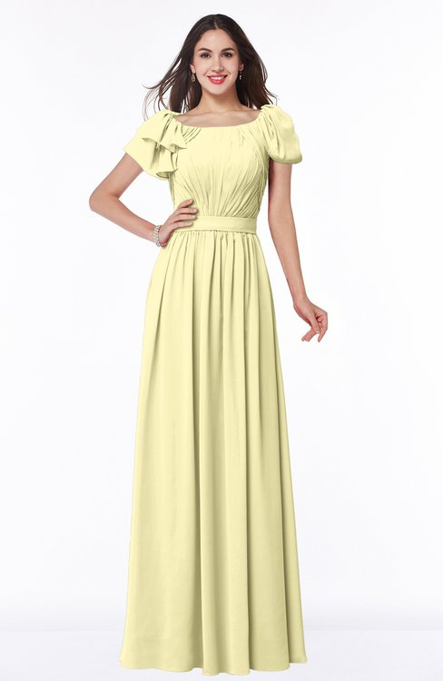 ColsBM Thalia Soft Yellow Mature A-line Zipper Chiffon Floor Length Plus Size Bridesmaid Dresses