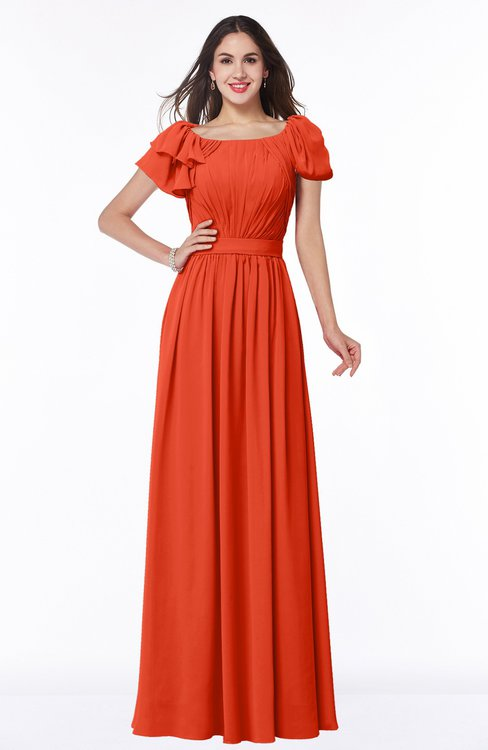 ColsBM Thalia Tangerine Tango Mature A-line Zipper Chiffon Floor Length Plus Size Bridesmaid Dresses