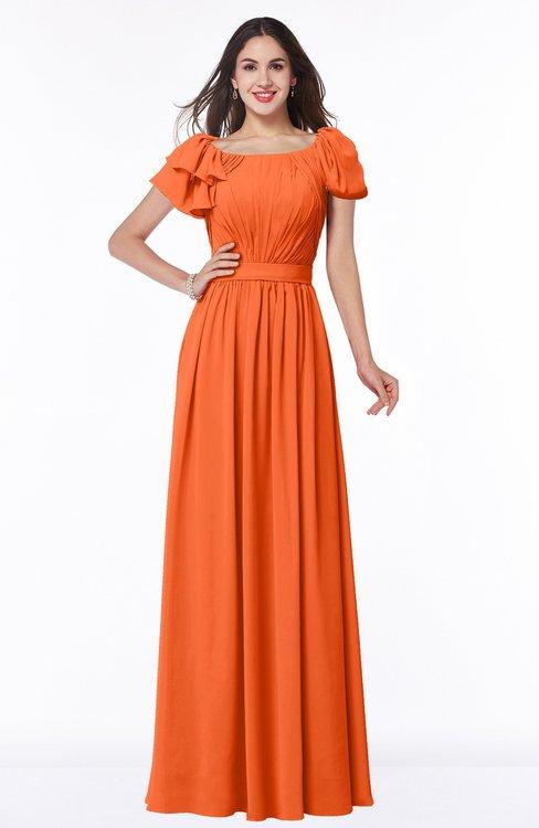 ColsBM Thalia Tangerine Mature A-line Zipper Chiffon Floor Length Plus Size Bridesmaid Dresses