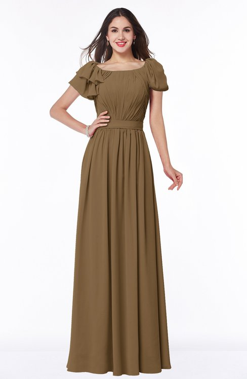 ColsBM Thalia Truffle Mature A-line Zipper Chiffon Floor Length Plus Size Bridesmaid Dresses