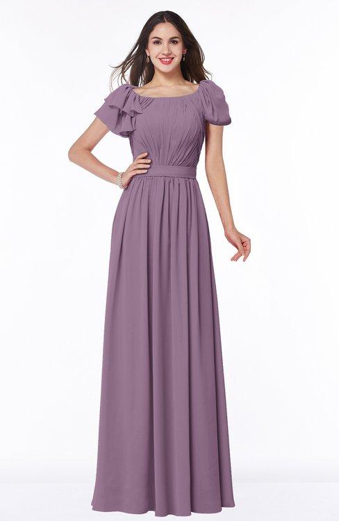 ColsBM Thalia Valerian Mature A-line Zipper Chiffon Floor Length Plus Size Bridesmaid Dresses