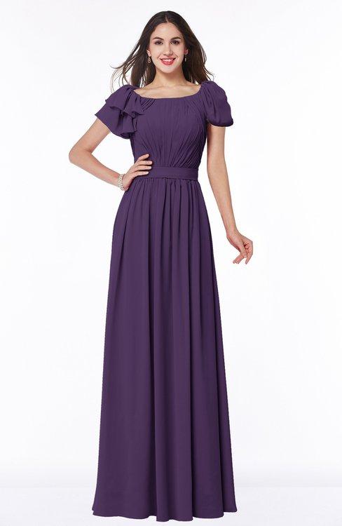ColsBM Thalia Violet Mature A-line Zipper Chiffon Floor Length Plus Size Bridesmaid Dresses