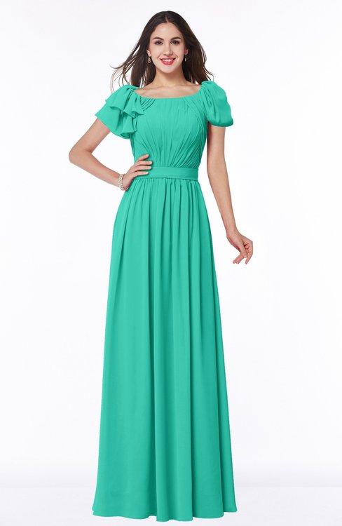 ColsBM Thalia Viridian Green Mature A-line Zipper Chiffon Floor Length Plus Size Bridesmaid Dresses