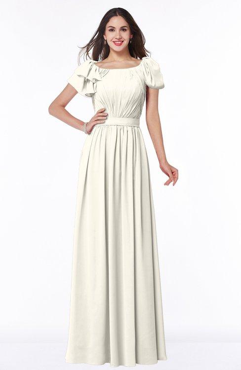 ColsBM Thalia Whisper White Mature A-line Zipper Chiffon Floor Length Plus Size Bridesmaid Dresses