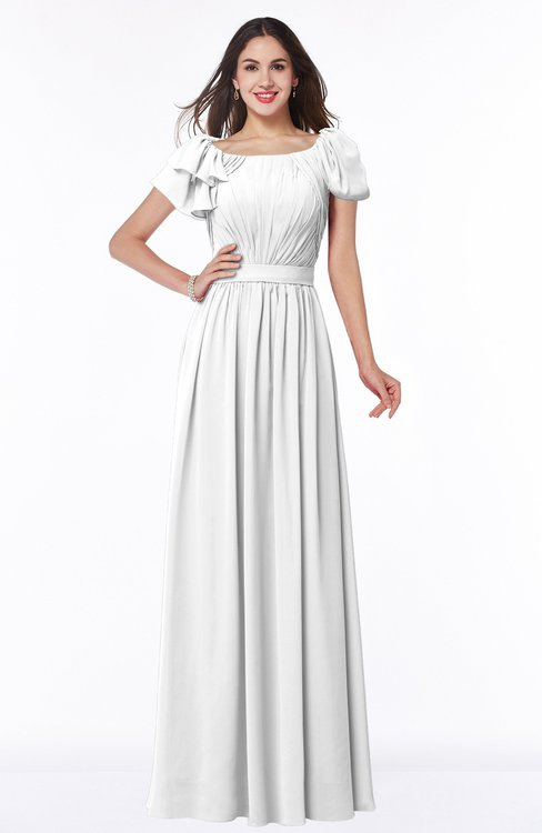 ColsBM Thalia White Mature A-line Zipper Chiffon Floor Length Plus Size Bridesmaid Dresses