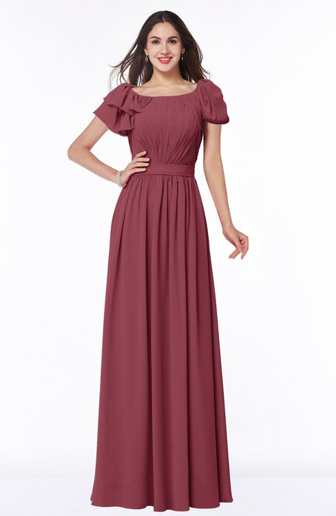 ColsBM Thalia Wine Mature A-line Zipper Chiffon Floor Length Plus Size Bridesmaid Dresses