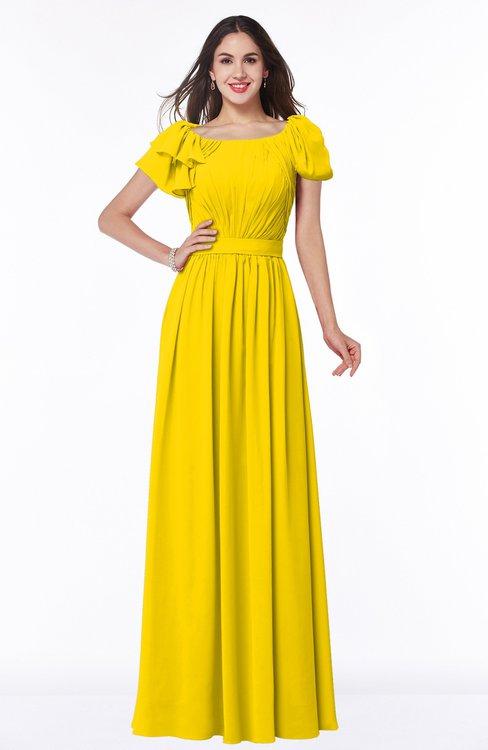 ColsBM Thalia Yellow Mature A-line Zipper Chiffon Floor Length Plus Size Bridesmaid Dresses