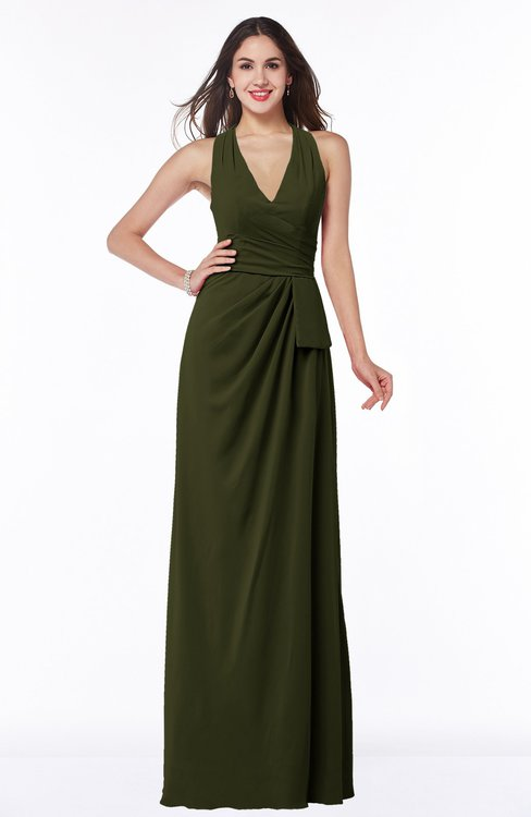 ColsBM Alma Beech Elegant A-line Halter Sleeveless Zipper Chiffon Plus Size Bridesmaid Dresses