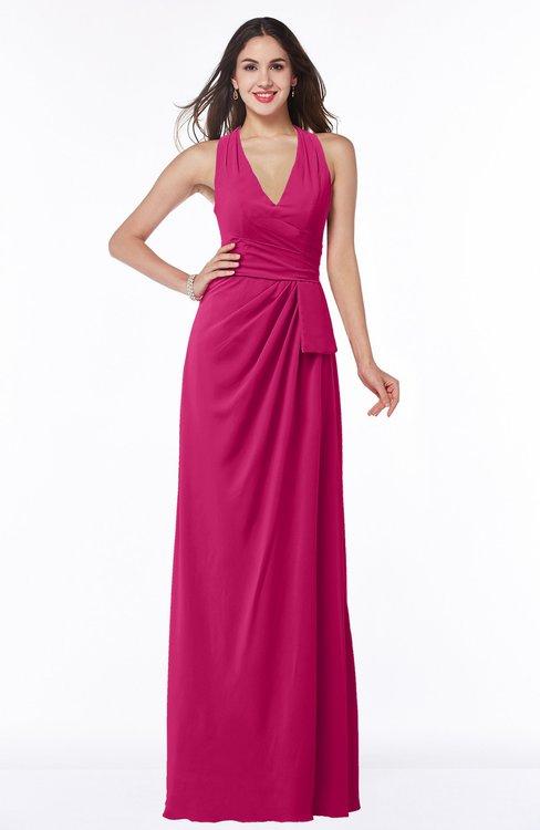 ColsBM Alma Beetroot Purple Elegant A-line Halter Sleeveless Zipper Chiffon Plus Size Bridesmaid Dresses