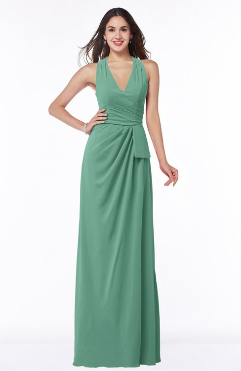 ColsBM Alma Bristol Blue Elegant A-line Halter Sleeveless Zipper Chiffon Plus Size Bridesmaid Dresses