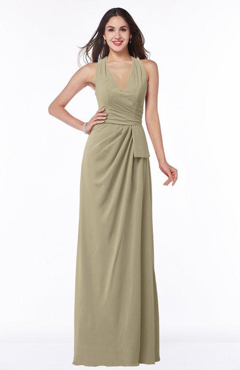 ColsBM Alma Candied Ginger Elegant A-line Halter Sleeveless Zipper Chiffon Plus Size Bridesmaid Dresses