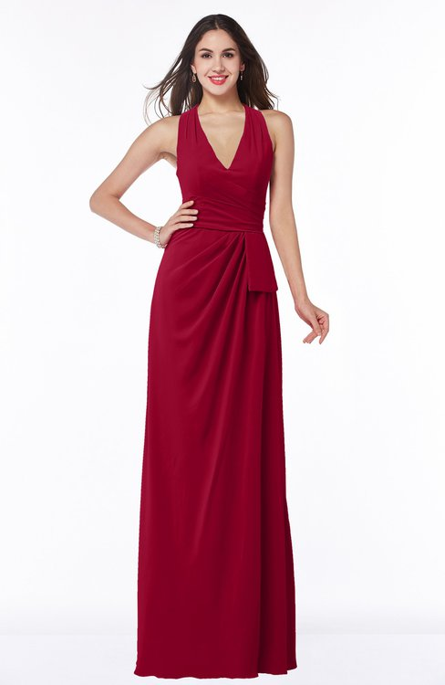 ColsBM Alma Dark Red Elegant A-line Halter Sleeveless Zipper Chiffon Plus Size Bridesmaid Dresses