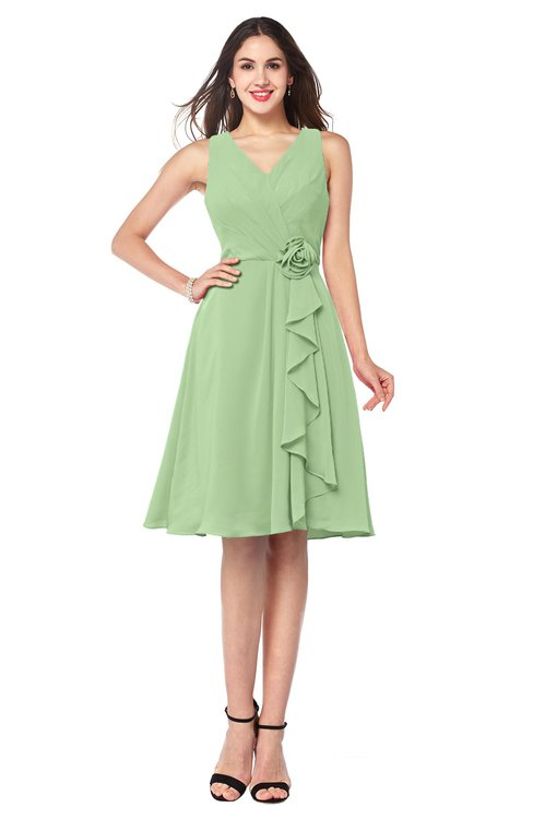 ColsBM Melissa Sage Green Sexy V-neck Sleeveless Chiffon Knee Length Plus Size Bridesmaid Dresses