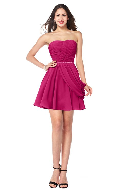 ColsBM Noelle Beetroot Purple Elegant A-line Strapless Sleeveless Zip up Sequin Plus Size Bridesmaid Dresses