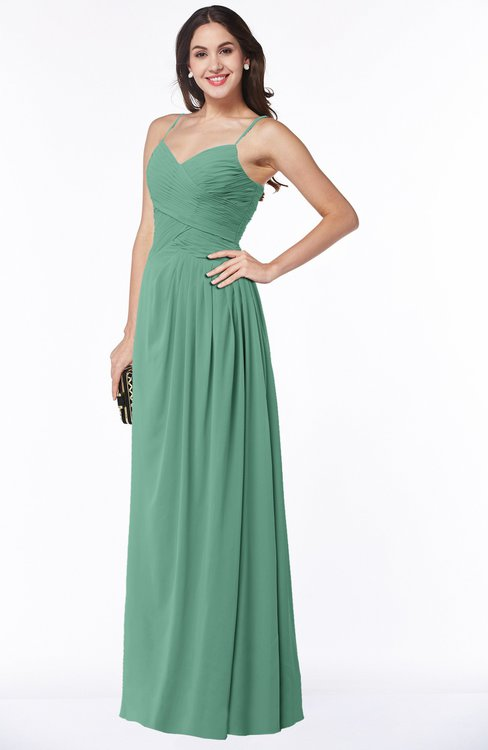 ColsBM Kaitlyn Beryl Green Cinderella A-line Sleeveless Chiffon Floor Length Ruching Plus Size Bridesmaid Dresses