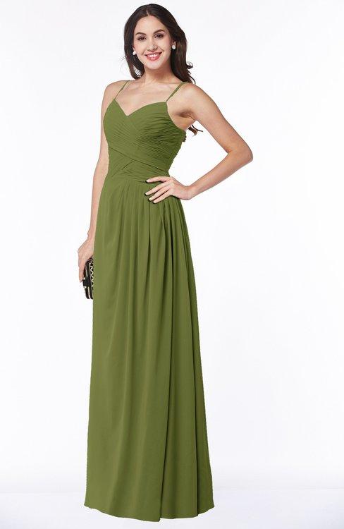 Colsbm Kaitlyn Olive Green Cinderella A Line Sleeveless Chiffon Floor Length Ruching Plus Size Bridesmaid