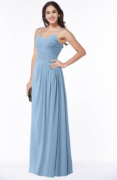 ColsBM Kaitlyn Sky Blue Cinderella A-line Sleeveless Chiffon Floor Length Ruching Plus Size Bridesmaid Dresses