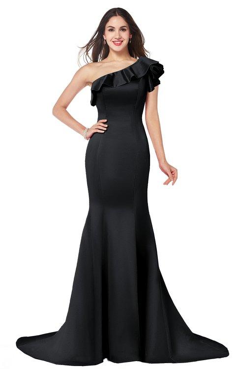 ColsBM Abigail Black Elegant Fishtail Sleeveless Zip up Satin Ruffles Bridesmaid Dresses