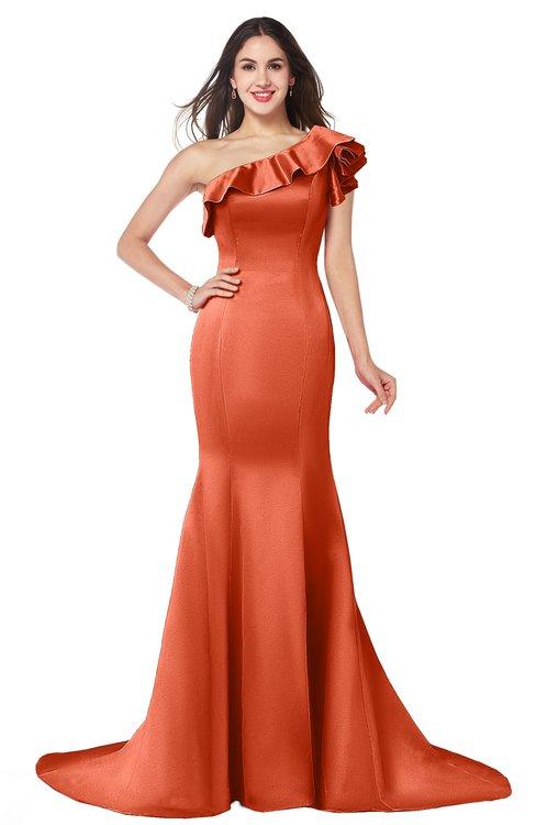 ColsBM Abigail Persimmon Elegant Fishtail Sleeveless Zip up Satin Ruffles Bridesmaid Dresses
