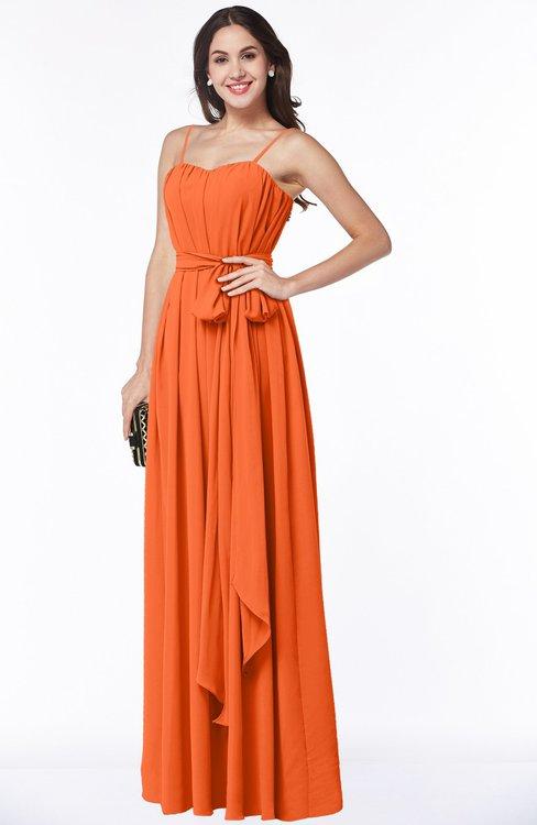 ColsBM Dahlia Tangerine Sexy A-line Zip up Chiffon Floor Length Sash Plus Size Bridesmaid Dresses