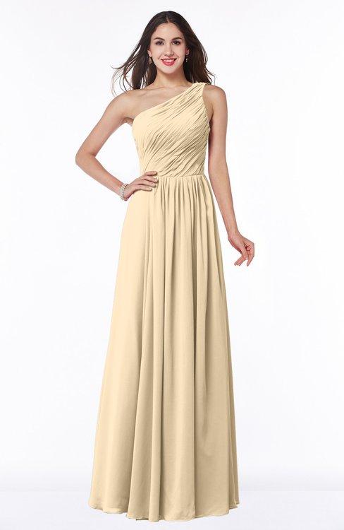 ColsBM Nancy Apricot Gelato Sexy A-line Sleeveless Zip up Chiffon Ruching Plus Size Bridesmaid Dresses
