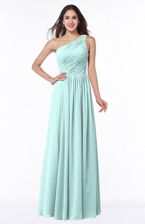 ColsBM Nancy Blue Glass Sexy A-line Sleeveless Zip up Chiffon Ruching Plus Size Bridesmaid Dresses