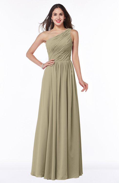 ColsBM Nancy Candied Ginger Sexy A-line Sleeveless Zip up Chiffon Ruching Plus Size Bridesmaid Dresses