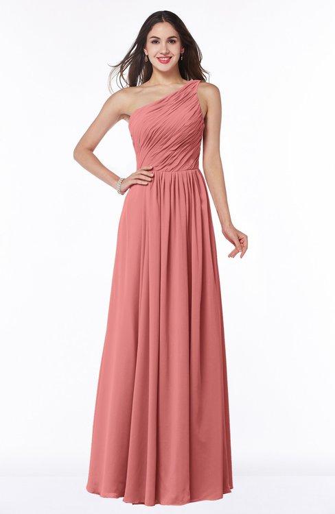 ColsBM Nancy Lantana Sexy A-line Sleeveless Zip up Chiffon Ruching Plus Size Bridesmaid Dresses