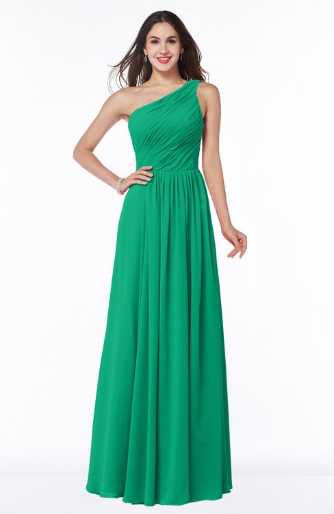 ColsBM Nancy Pepper Green Sexy A-line Sleeveless Zip up Chiffon Ruching Plus Size Bridesmaid Dresses
