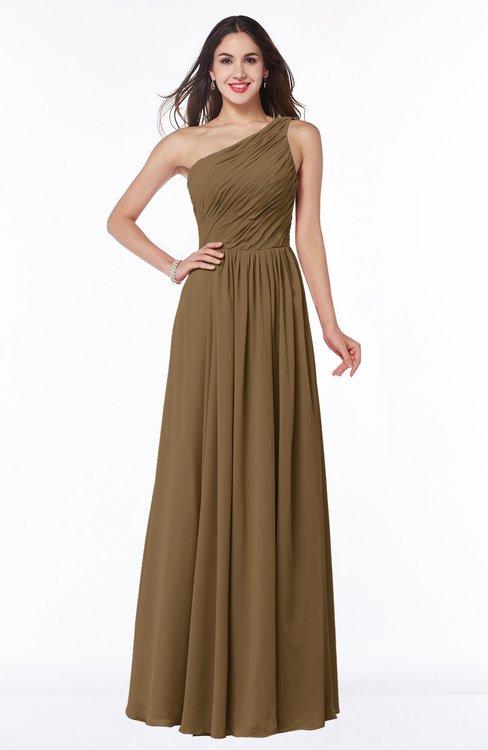 ColsBM Nancy Truffle Sexy A-line Sleeveless Zip up Chiffon Ruching Plus Size Bridesmaid Dresses
