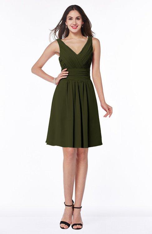 ColsBM Celia Beech Plain Sleeveless Half Backless Chiffon Knee Length Ruching Plus Size Bridesmaid Dresses