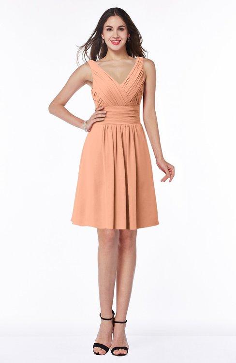 ColsBM Celia Salmon Plain Sleeveless Half Backless Chiffon Knee Length Ruching Plus Size Bridesmaid Dresses