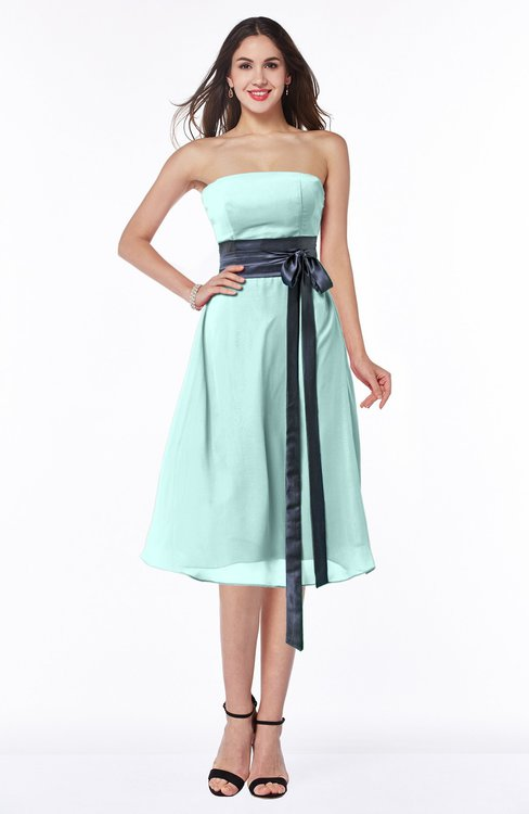 ColsBM Renata Blue Glass Simple A-line Strapless Sleeveless Zip up Sash Plus Size Bridesmaid Dresses