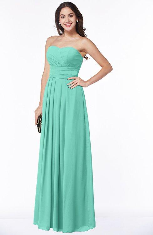 ColsBM Rosa Mint Green Mature Sleeveless Zipper Chiffon Ruching Plus Size Bridesmaid Dresses