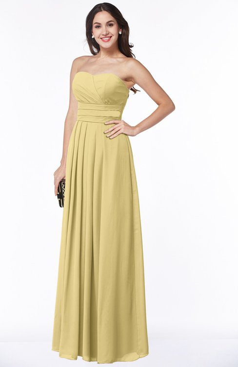 ColsBM Rosa New Wheat Mature Sleeveless Zipper Chiffon Ruching Plus Size Bridesmaid Dresses