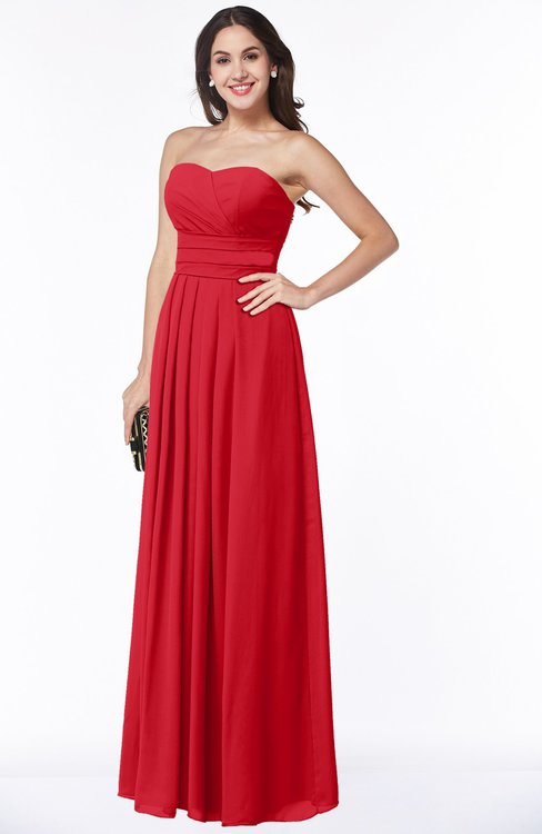 ColsBM Rosa Red Mature Sleeveless Zipper Chiffon Ruching Plus Size Bridesmaid Dresses