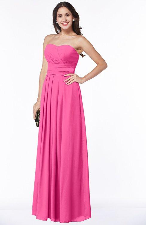 ColsBM Rosa Rose Pink Mature Sleeveless Zipper Chiffon Ruching Plus Size Bridesmaid Dresses