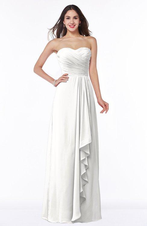 ColsBM Mira Cloud White Classic A-line Zipper Chiffon Floor Length Plus Size Bridesmaid Dresses