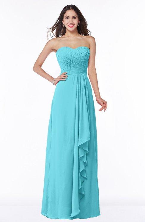 ColsBM Mira Turquoise Classic A-line Zipper Chiffon Floor Length Plus Size Bridesmaid Dresses
